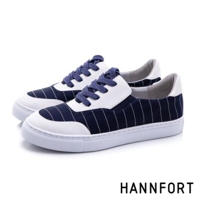 HANNFORT CAMPUS 條紋帆布休閒鞋-女-深藍(8H)