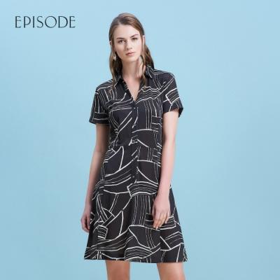 EPISODE - 黑色幾何圖案襯衫領短袖洋裝