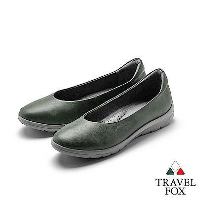 TRAVEL FOX(女) 做自己 腊感牛皮極簡都會休閒鞋 - LOVE U 綠