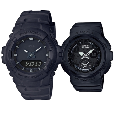 CASIO 絕色配雙黑簡約休閒運動對錶-(G-100BB-1A+BGA-190BC-1B)