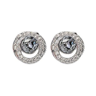 SWAROVSKI 施華洛世奇 璀璨藍水晶雙圈造型銀色耳環