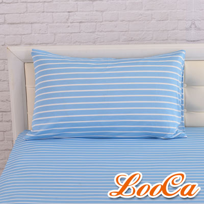 LooCa 新一代酷冰涼枕頭套1入(條紋藍)
