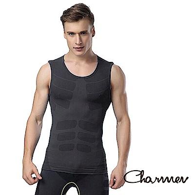 男性塑身衣 薄款透氣快乾背心 Charmen 黑色