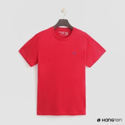 Hang Ten-有機棉-男裝全棉小LOGO素面圓領T-紅