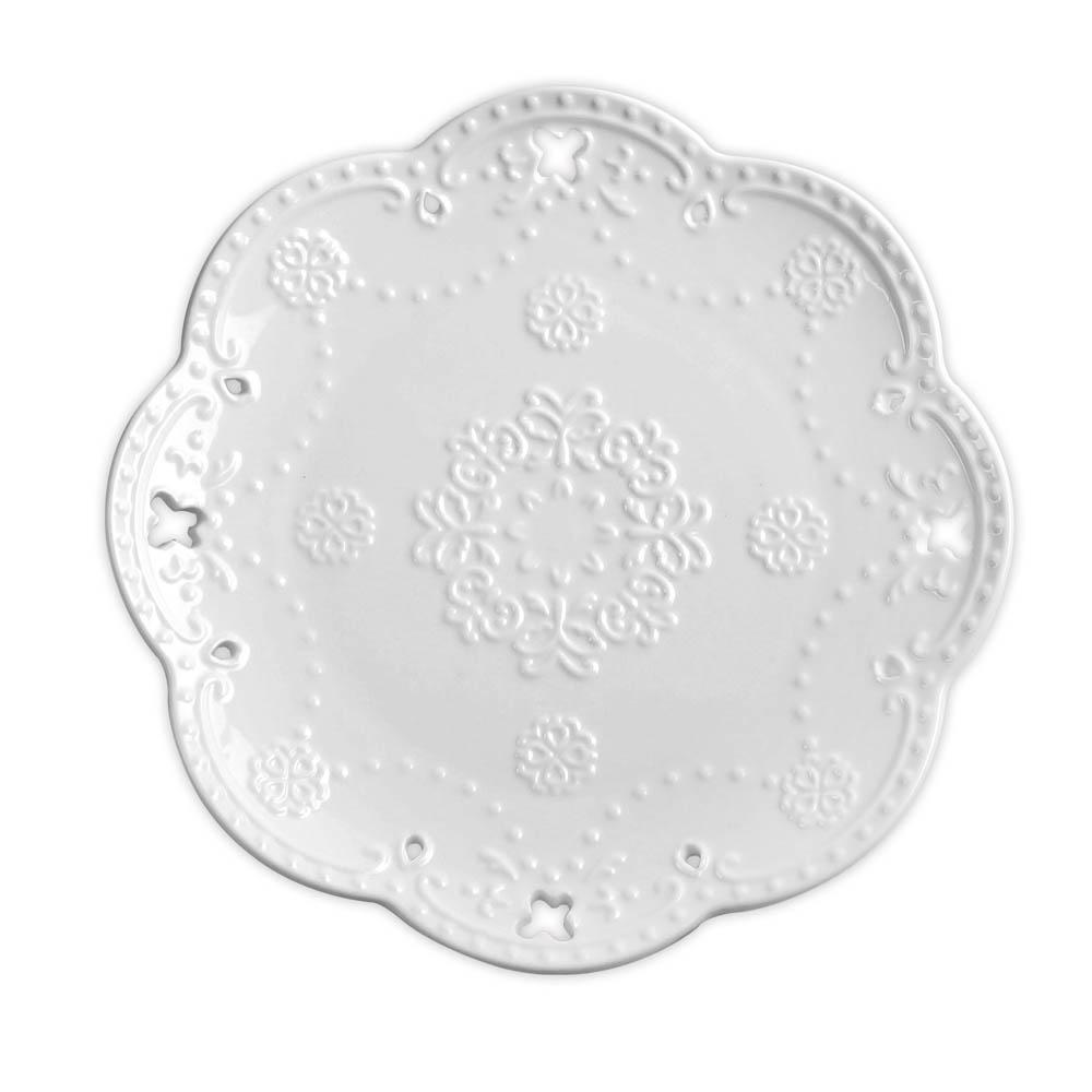 Caldo卡朵生活 優雅立體雕花鏤空8吋瓷盤20cm