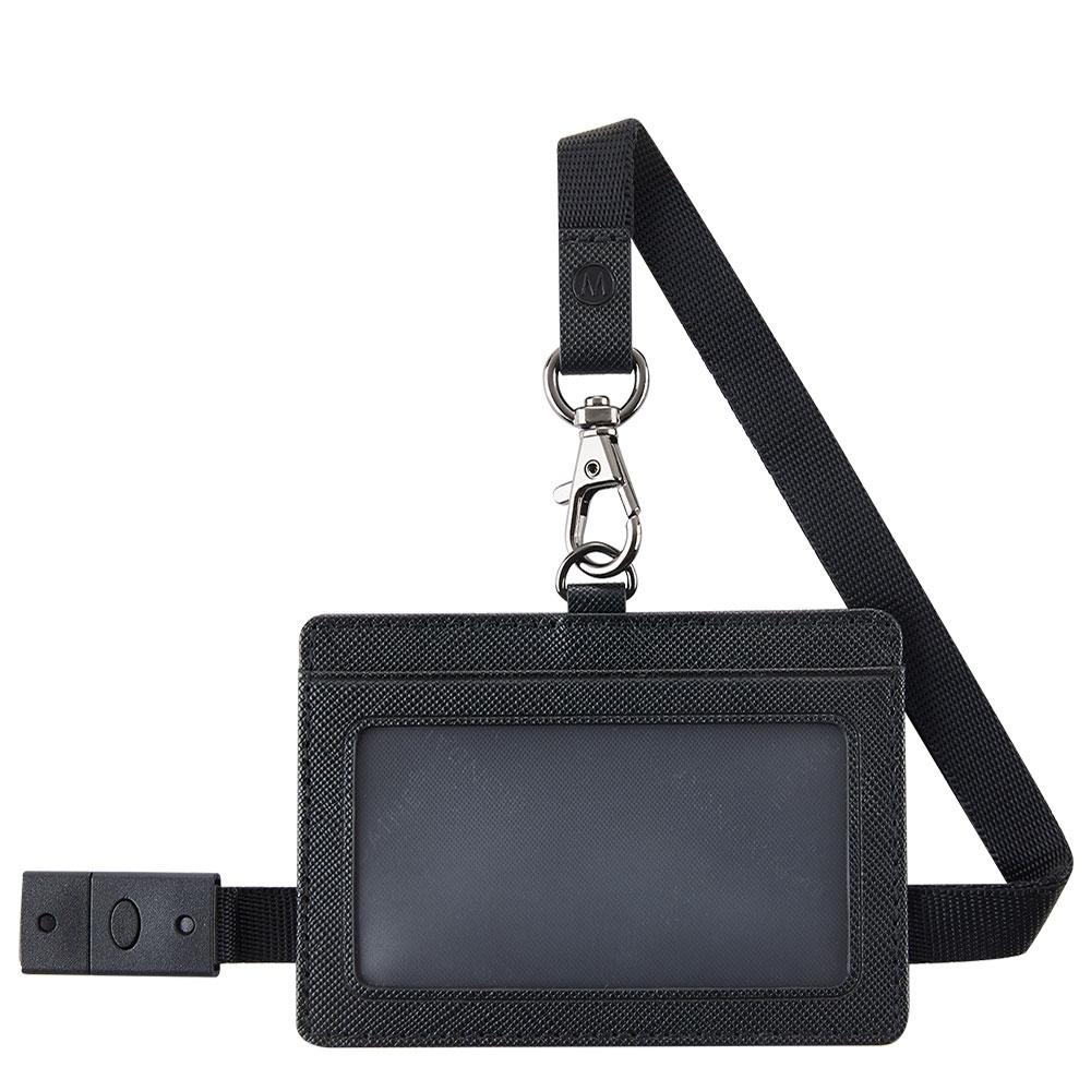 MONDAINE 瑞士國鐵牛皮安全扣證件套-橫式十字紋黑