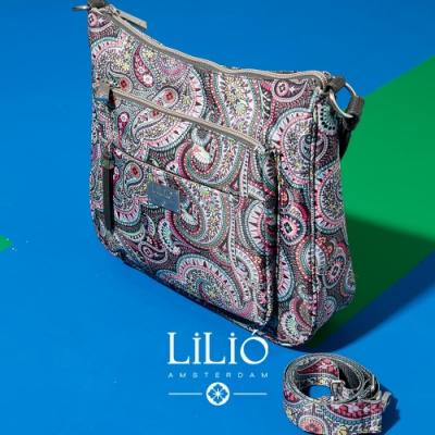 【LILIO】鐵灰_拉鏈式彎月側肩包_都市時尚_PAISLEY  PARK
