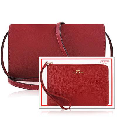 COACH 櫻桃紅色荔枝紋皮革斜背包+COACH 紅色防刮皮革手拿包