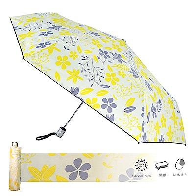 2mm 100%遮光 采漾印花黑膠降溫自動開收傘(花朵)