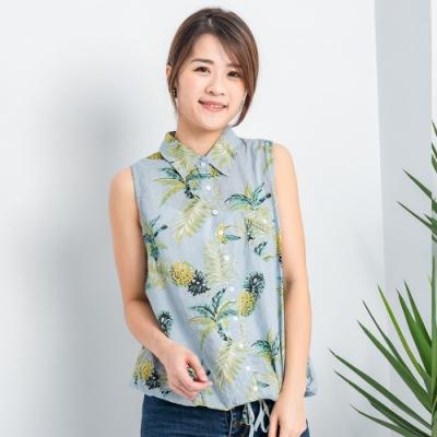 【白鵝buyer】俏皮鳳梨造型襯衫領下擺綁帶背心_淺綠