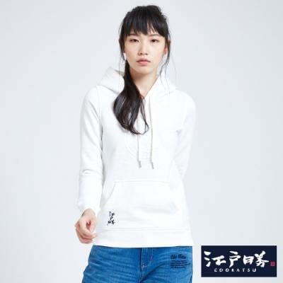 EDO KATSU江戶勝 多圖趣味繡花連帽長袖T恤-女-米白色