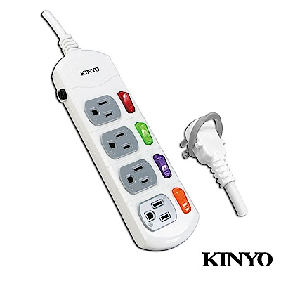 KINYO  4開4插安全延長線1.8M(CG1446)