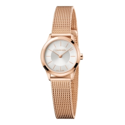 Calvin Klein CK 優雅玫瑰金時尚米蘭帶腕錶(K3M23626)24mm