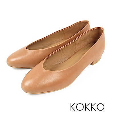 KOKKO - 蒙布朗之約手工全真皮平底鞋-落葉棕