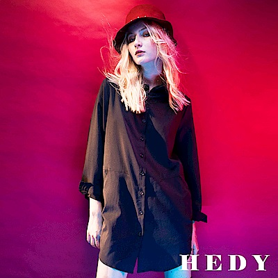 Hedy赫蒂 口袋剪裁彈性長版襯衫(共兩色)