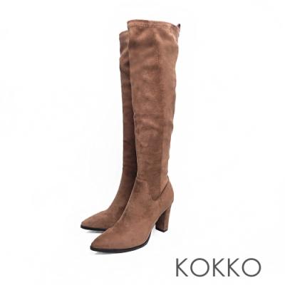 KOKKO - 視覺顯瘦尖頭粗跟皺摺長靴 - 咖啡色