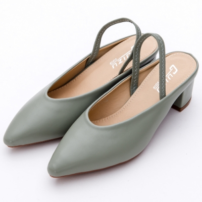 River&Moon穆勒-V型素面拉帶尖頭粗跟涼鞋 清新綠