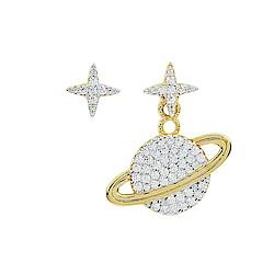 apm MONACO法國精品珠寶 閃耀金色星球不對稱耳針式耳環