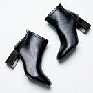 River&Moon短靴-簡約縫線方頭金屬跟短靴 黑