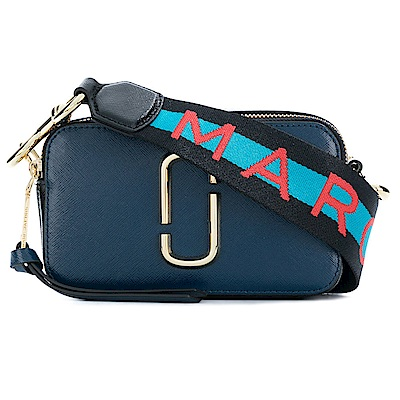 MARC JACOBS Snapshot 品牌背帶防刮牛皮相機包/斜背包-深藍