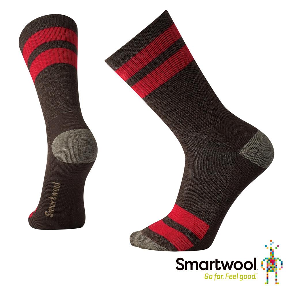 SmartWool 健行條紋中量級減震中長襪 栗子棕