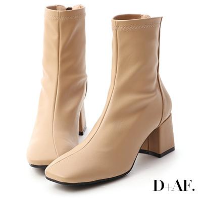 D+AF 好感話題.素面斜線方頭高跟襪靴*杏