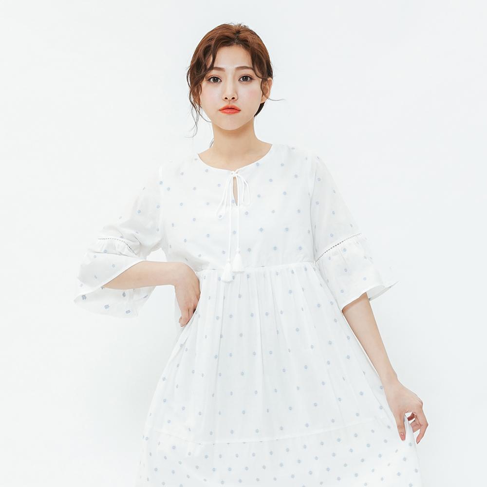 H:CONNECT 韓國品牌 女裝-甜美綁帶印花洋裝-白