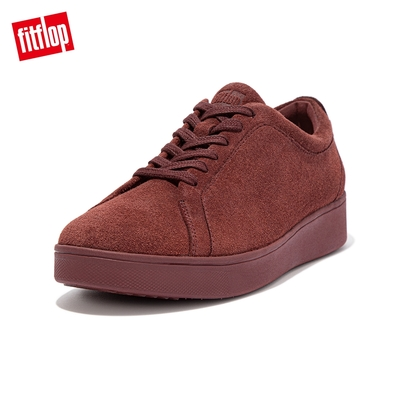 【FitFlop】RALLY SUEDE SNEAKERS 運動風繫帶休閒鞋(暗紅色)