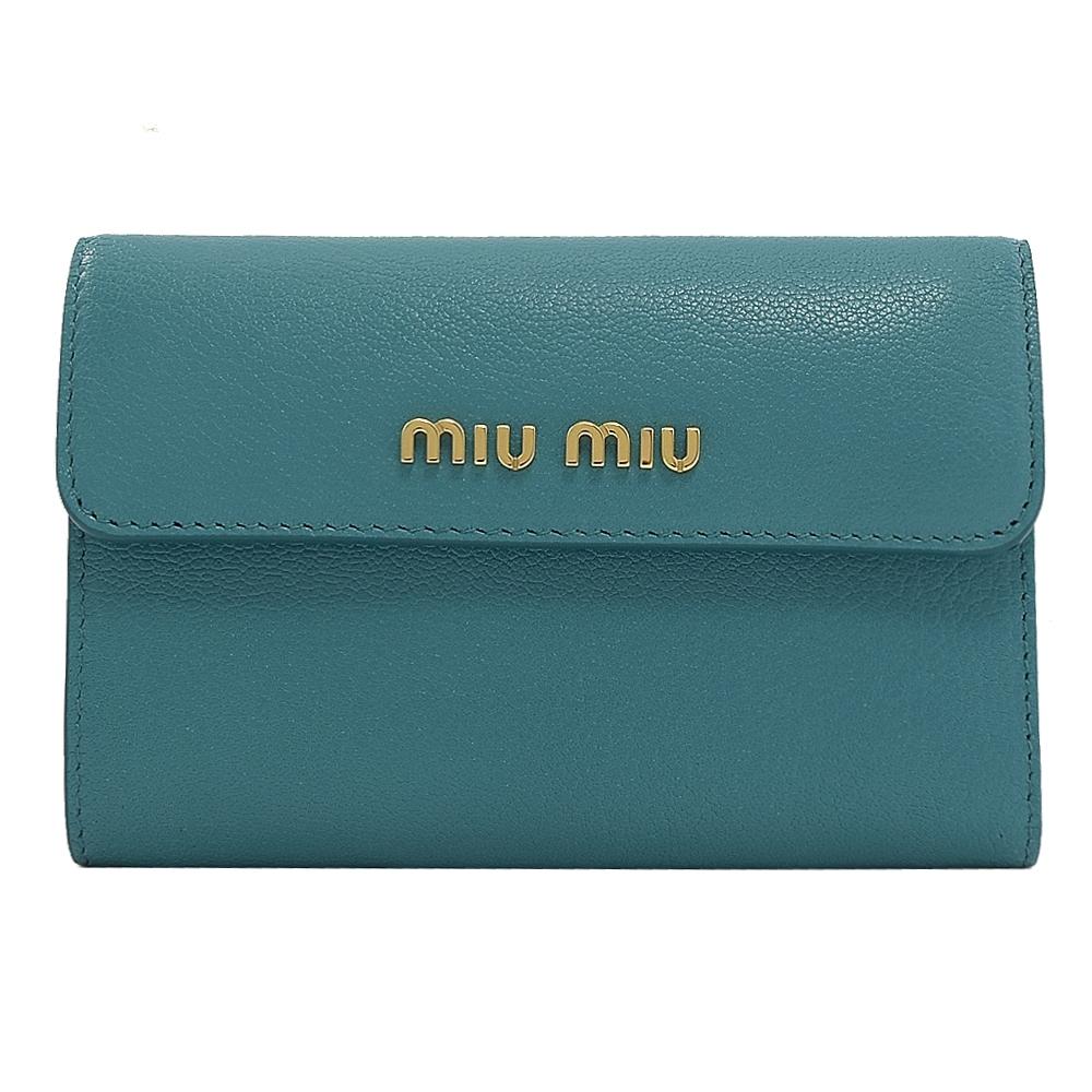 MIU MIU金屬LOGO山羊皮三折式零錢中夾(藍綠色)