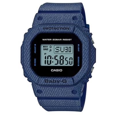 BABY-G 經典不敗款丹寧布料元素概念設計休閒錶(BGD-560DE-2)-40mm