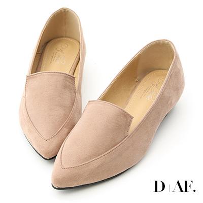 D+AF 都會俐落.絨料尖頭金屬低跟鞋*杏