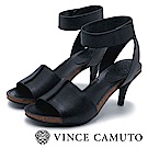 Vince Camuto 拼接寬版木紋魚口高跟涼鞋-黑色