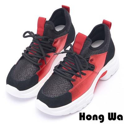 Hong Wa 時尚潮流金蔥拼接牛麂皮老爹鞋 - 黑紅