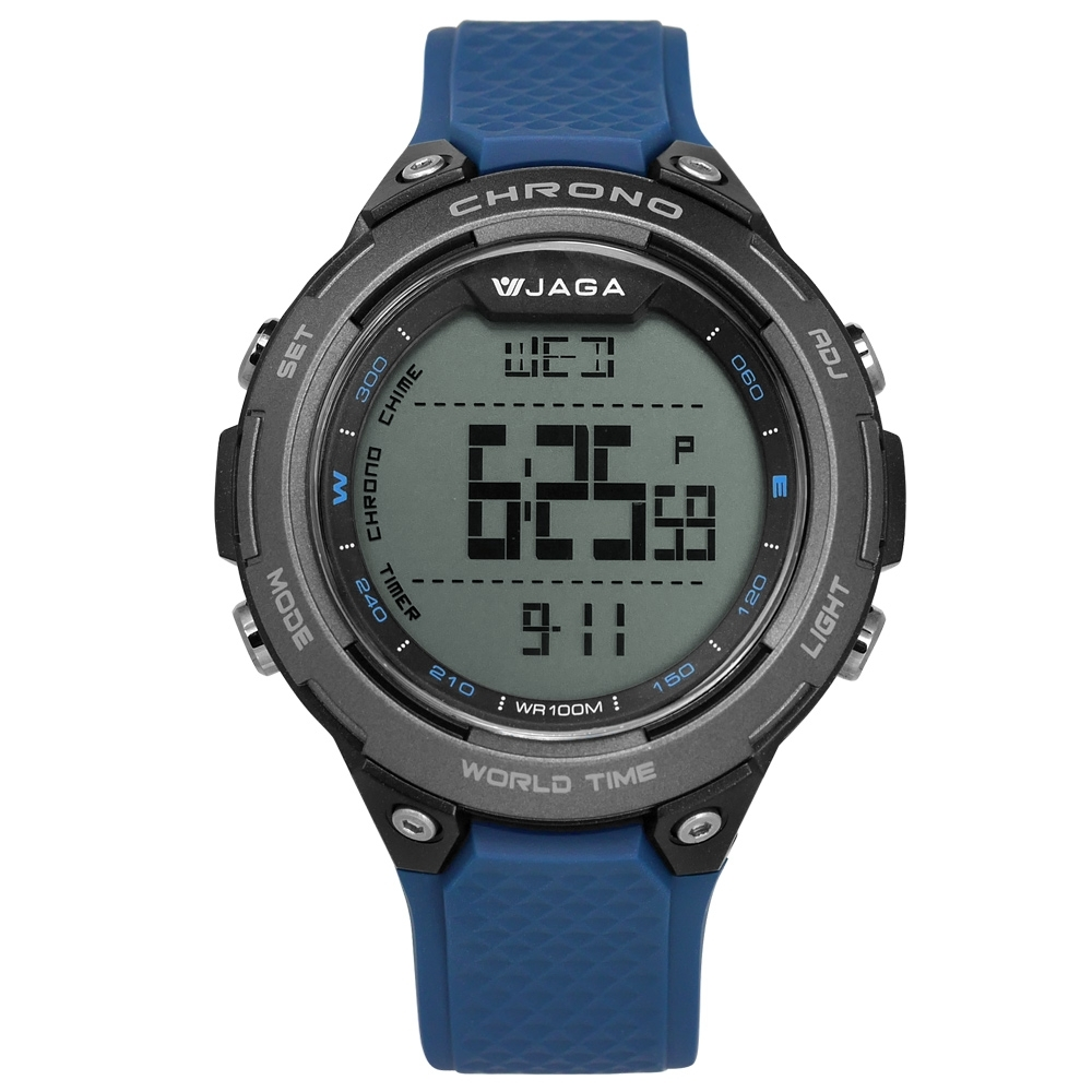 JAGA 捷卡 電子運動 倒數計時 計時碼錶 鬧鈴 防水100米 橡膠手錶-藍色/48mm