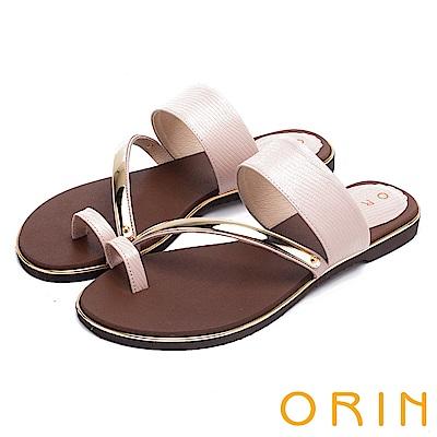 ORIN 夏日時尚風 金屬斜邊飾條牛皮套指拖鞋-粉紅