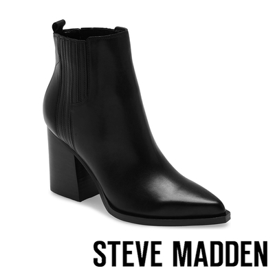 STEVE MADDEN-CHANDLER 側壓紋尖頭粗跟短靴-黑色