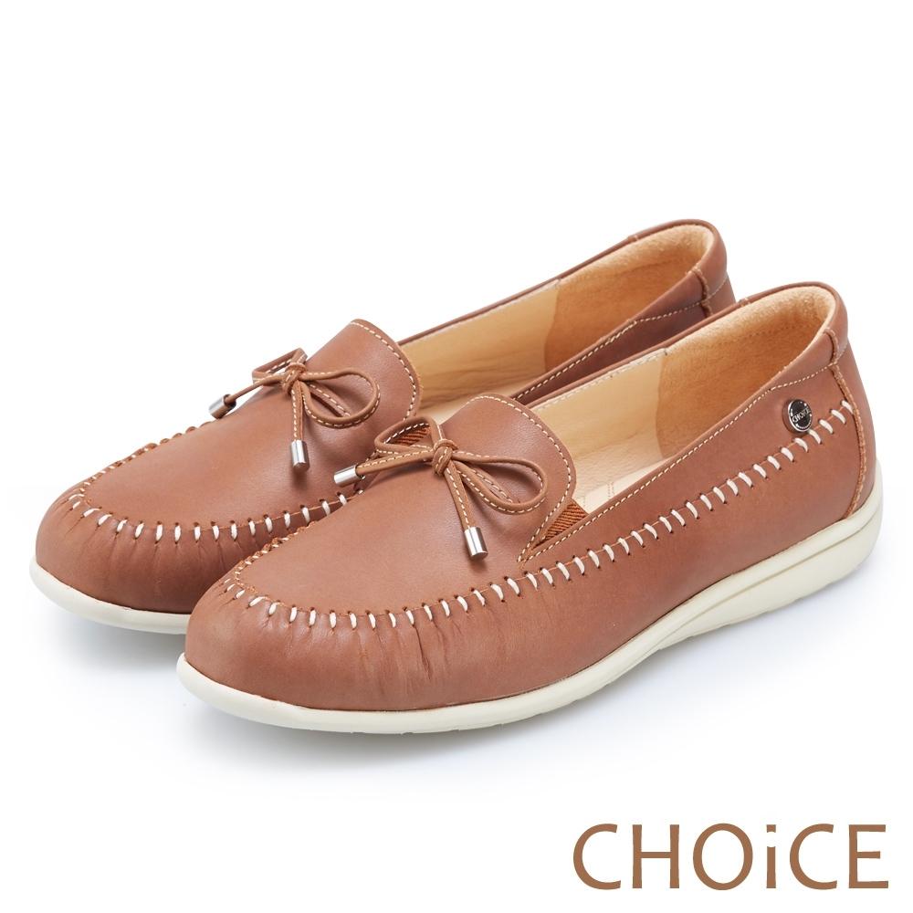 CHOiCE 輕量縫線牛皮休閒便鞋 棕色