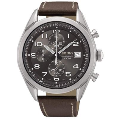 SEIKO精工   卓越商務三眼計時石英腕錶(SSB275P1)-灰棕面x45mm