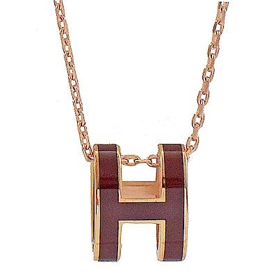 HERMES H POP款LOGO圓弧型項鍊(深紫/玫瑰金)