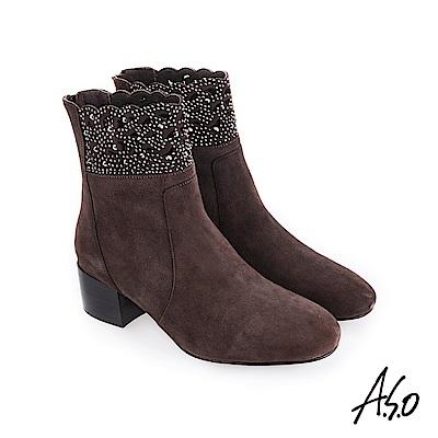 A.S.O 流金歲月 水鑽點綴閃耀風格短靴 灰