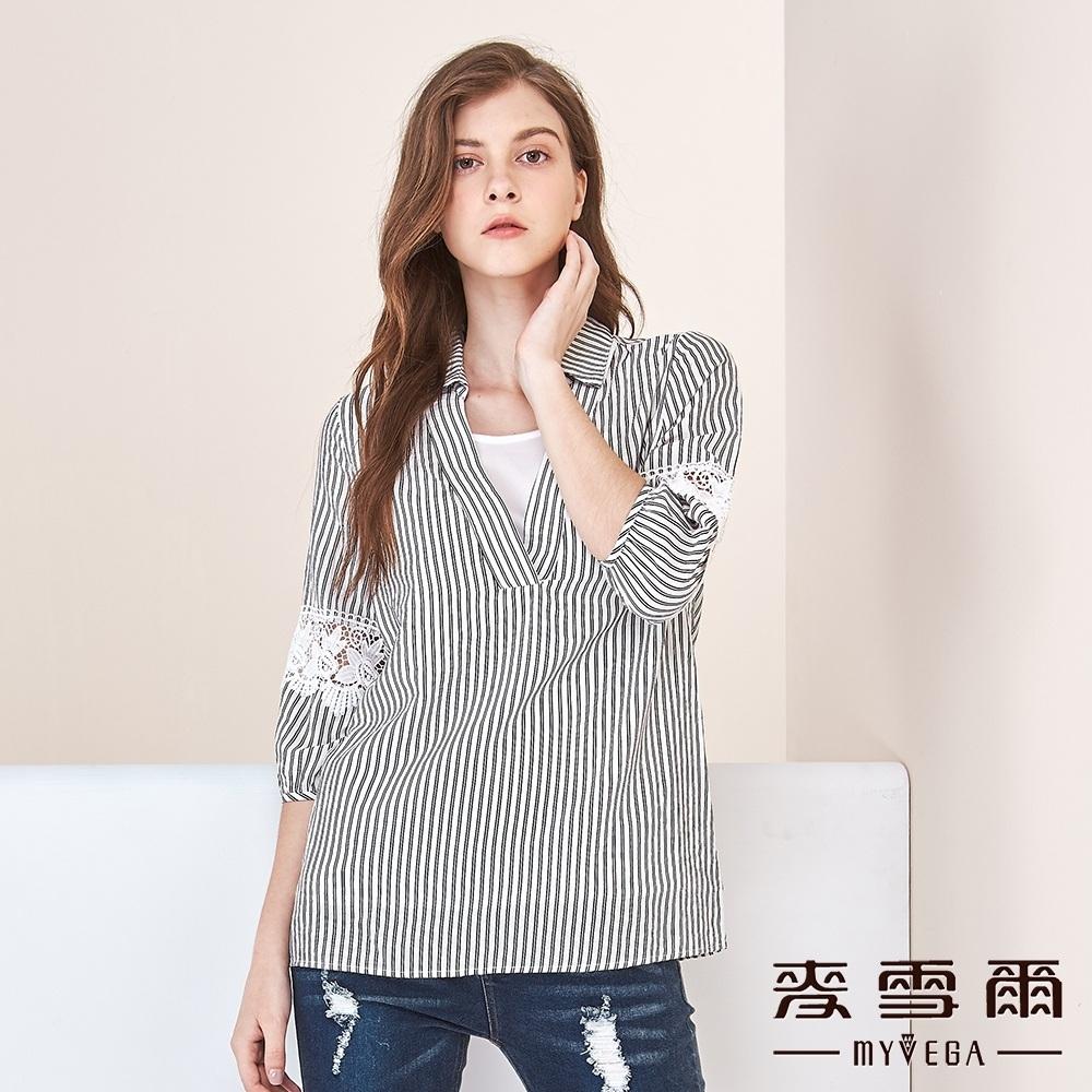 【麥雪爾】棉質條拼接蕾絲七分袖上衣