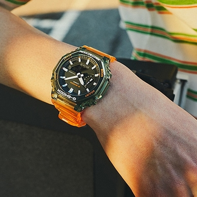CASIO卡西歐 G-SHOCK 秘境海岸 八角形錶殼GA-2100HC-4A 45.4mm/ 橘x綠