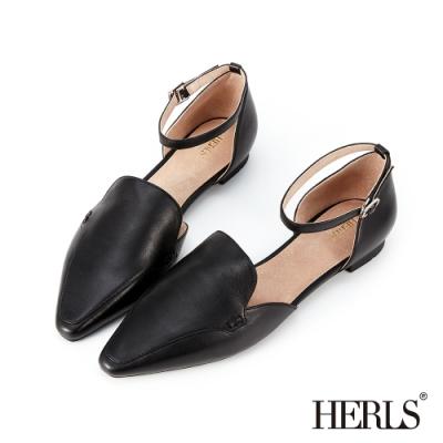 HERLS 優雅小姐 全真皮素面踝帶尖頭平底鞋-黑色