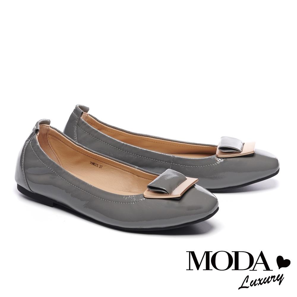 平底鞋 MODA Luxury 經典質感飾釦造型全真皮平底鞋-灰