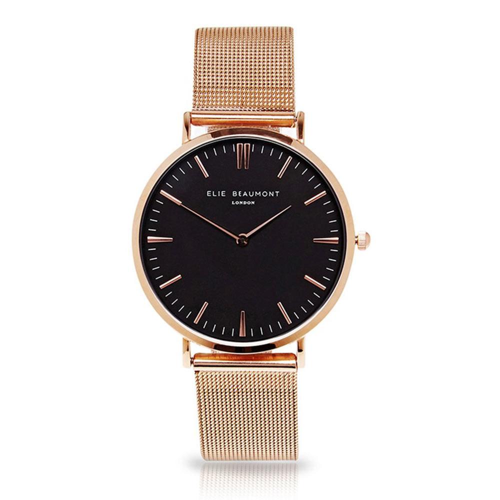Elie Beaumont 英國時尚手錶 牛津米蘭錶帶系列 黑錶盤x玫瑰金錶帶錶框33mm