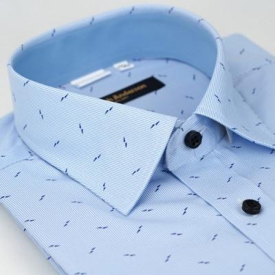【金安德森】藍底藍雙箭窄版長袖襯衫fast