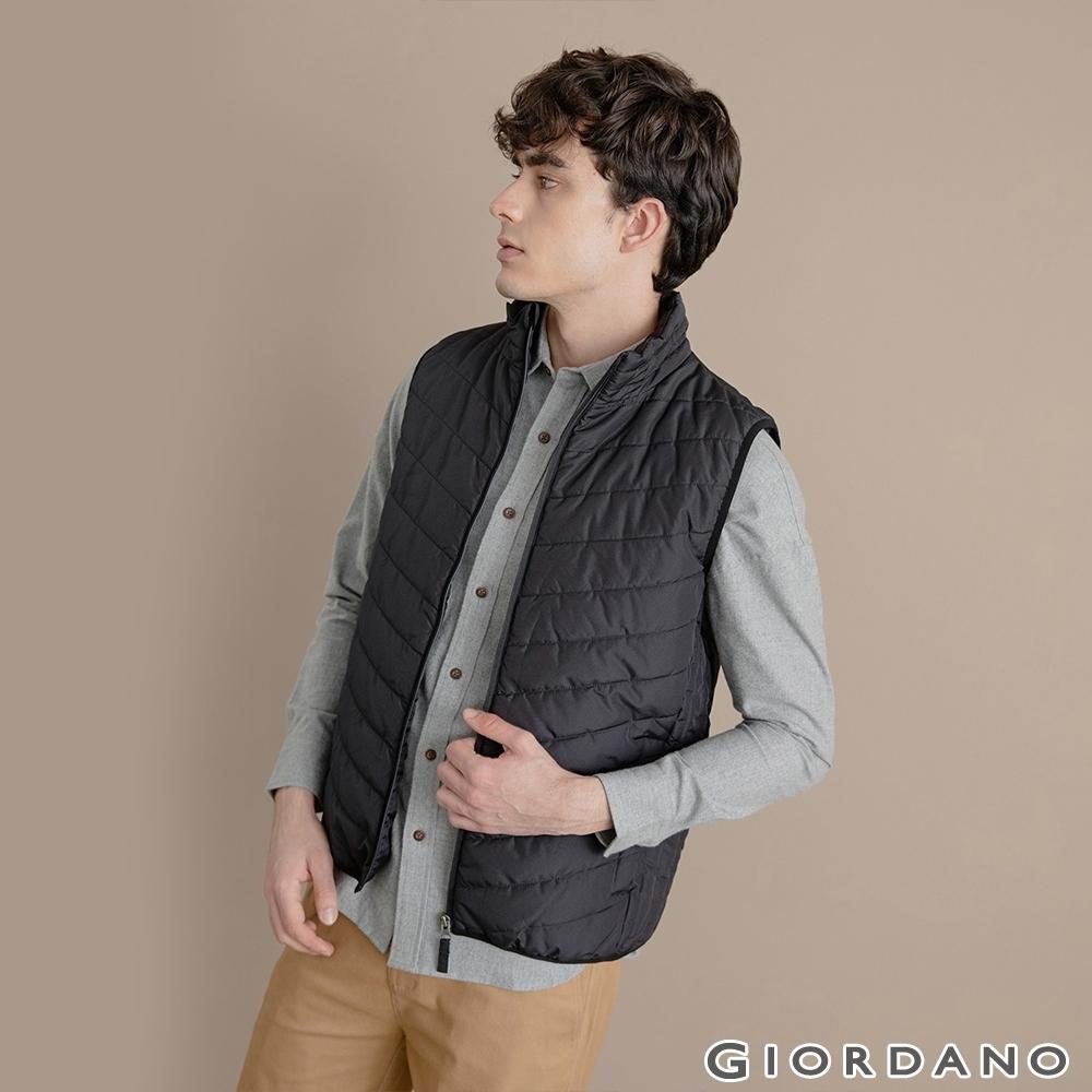 GIORDANO 男裝經典素色保暖鋪棉背心 - 09 標誌黑