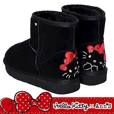 HELLO KITTY X Ann'S毛茸茸後跟刺繡超短筒真皮雪靴-黑