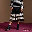 beartwo 氣質昇華壓摺蕾絲百搭七分裙(二色)