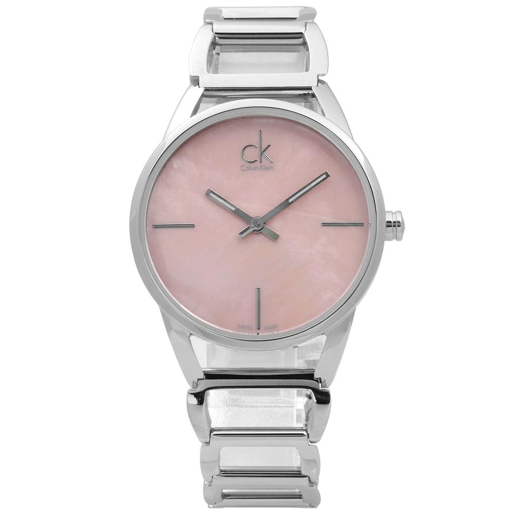 CK 迷人優美光環 珍珠母貝 不鏽鋼手錶-粉色/33mm